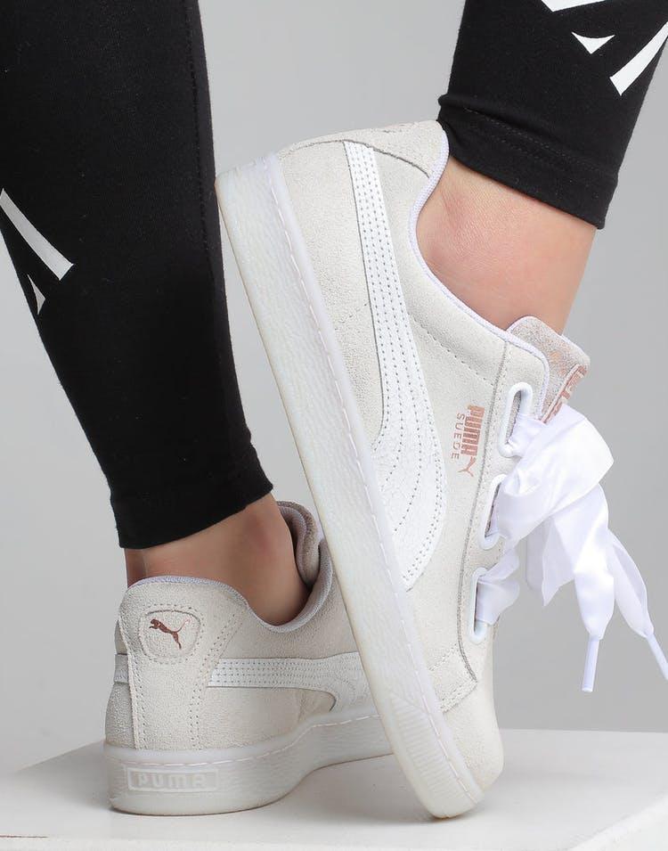 sale retailer 610e8 95874 Puma Women s Suede Heart Artica White White