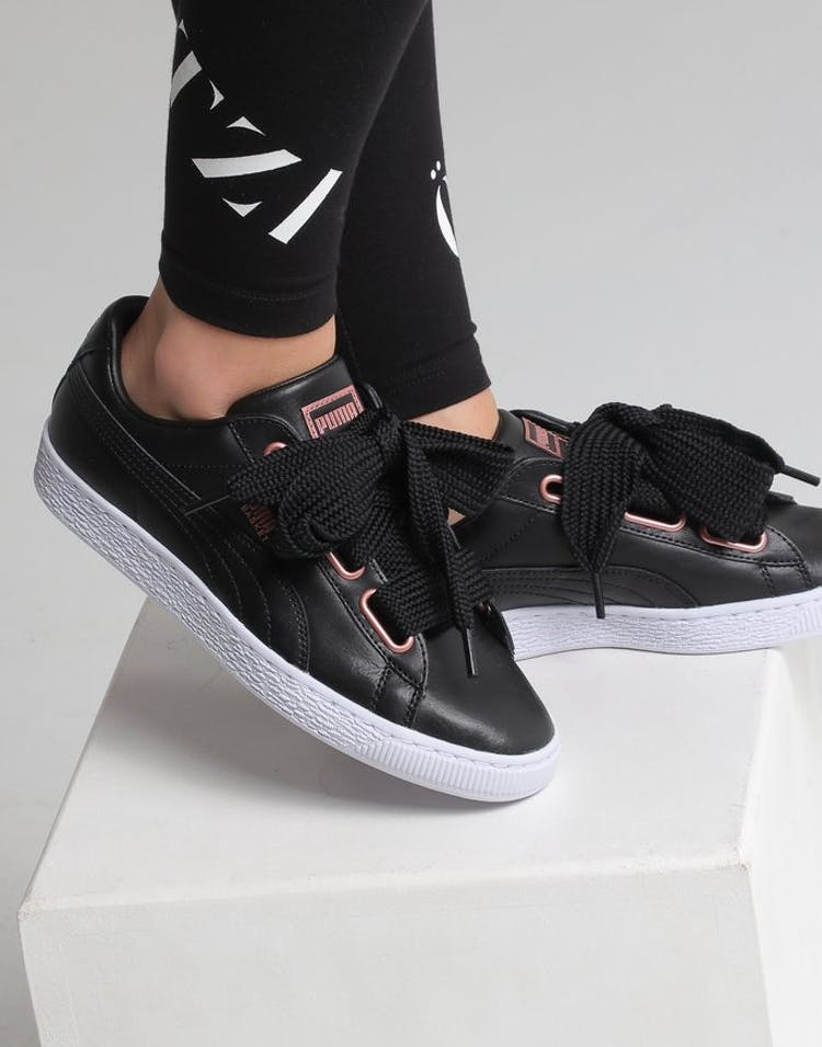 finest selection 9a5c5 8547c Puma Women's Basket Heart Leather Black/White/Rose Gold