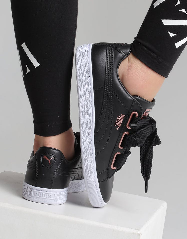 d3837550 Puma Women's Basket Heart Leather Black/White/Rose Gold