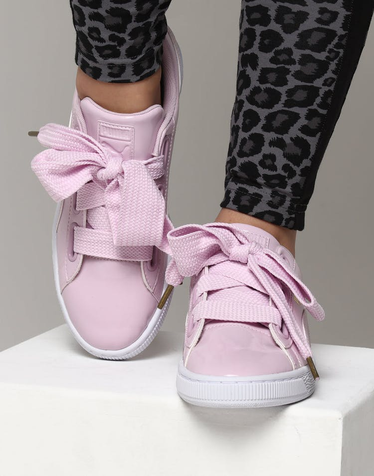new product cea67 46148 Puma Women's Basket Heart Patent Pink Orchid
