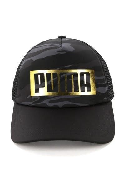 fa9cb86b175 Puma Foil Trucker Cap Black Gold