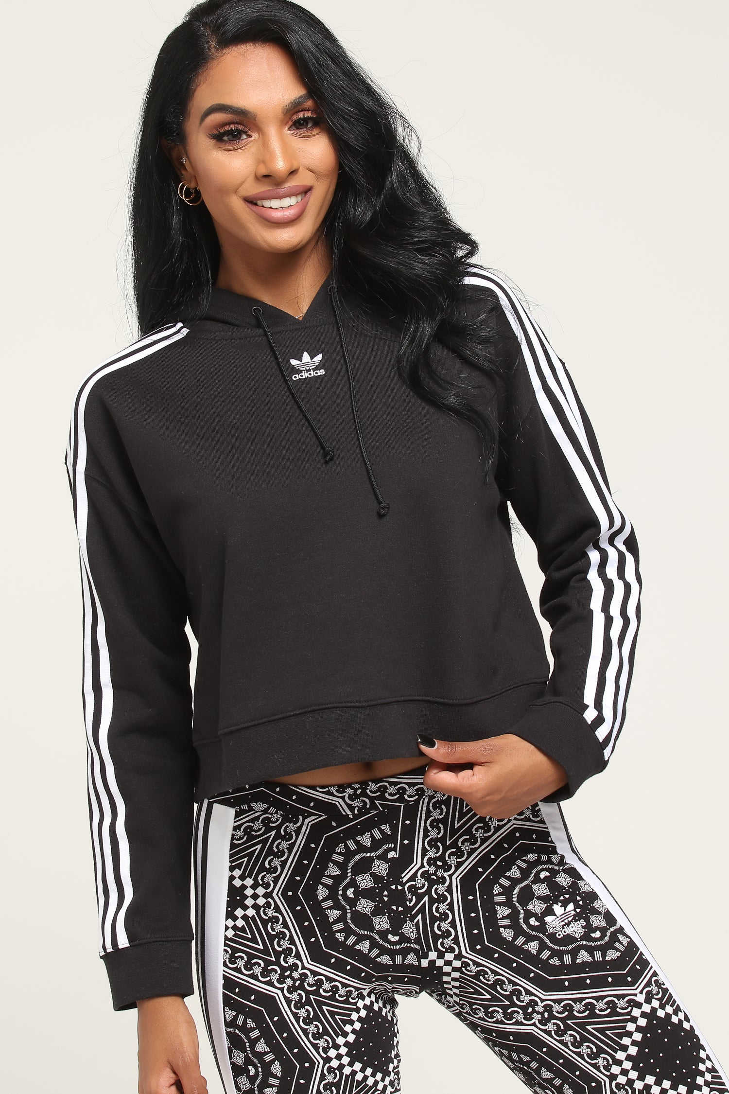 Adidas cropped hoodie black and white with classic Depop
