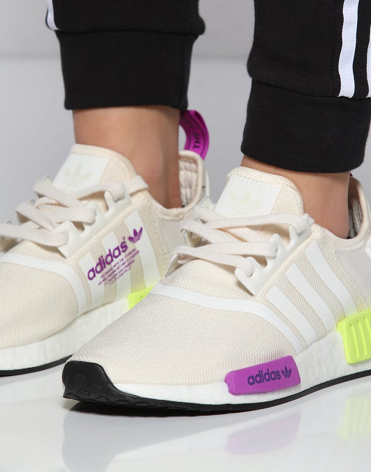 official store best loved 100% genuine Adidas NMD R1 Off White/Purple