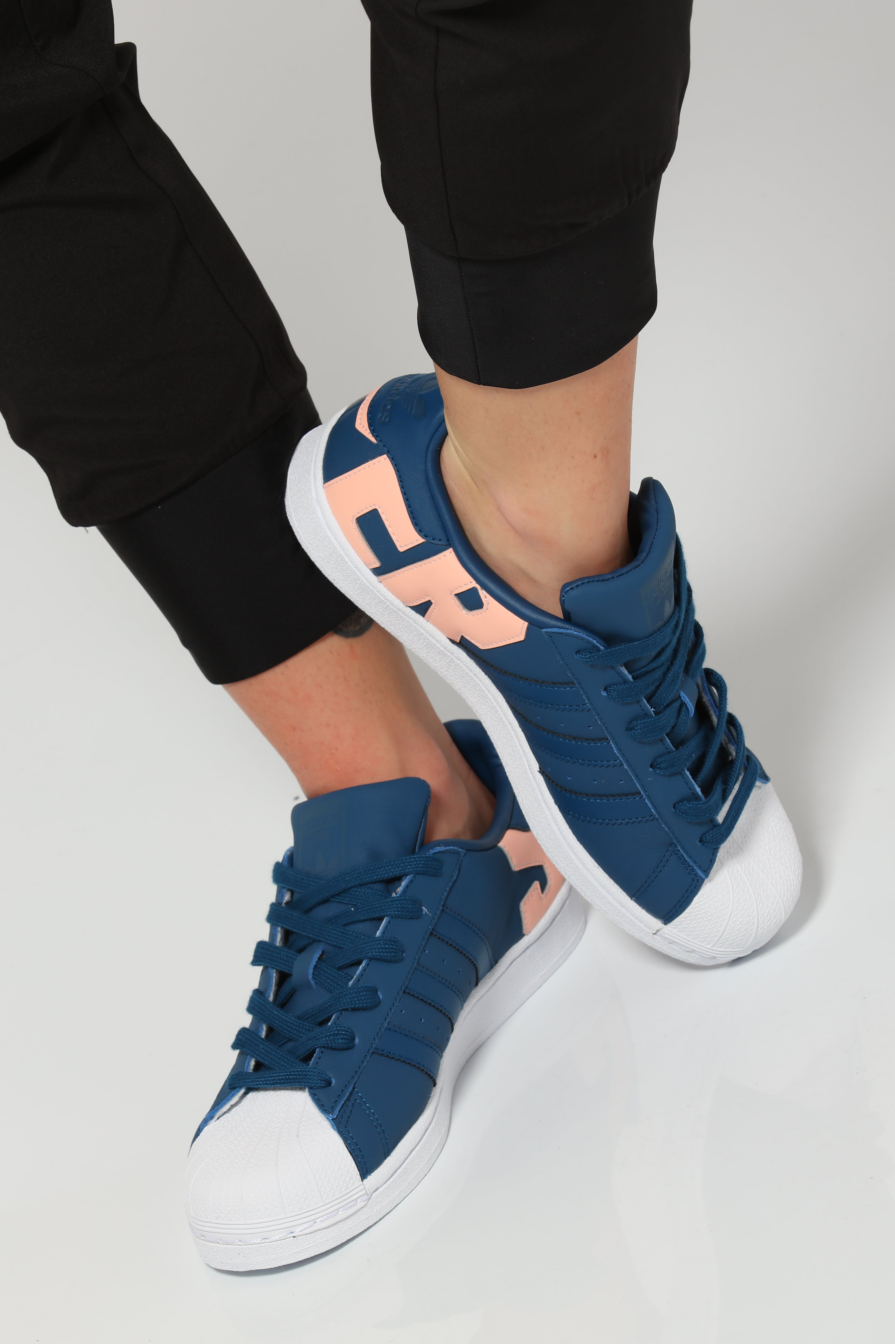 Fitted adidas Superstar Sneakers Womens WhiteNavy Blue