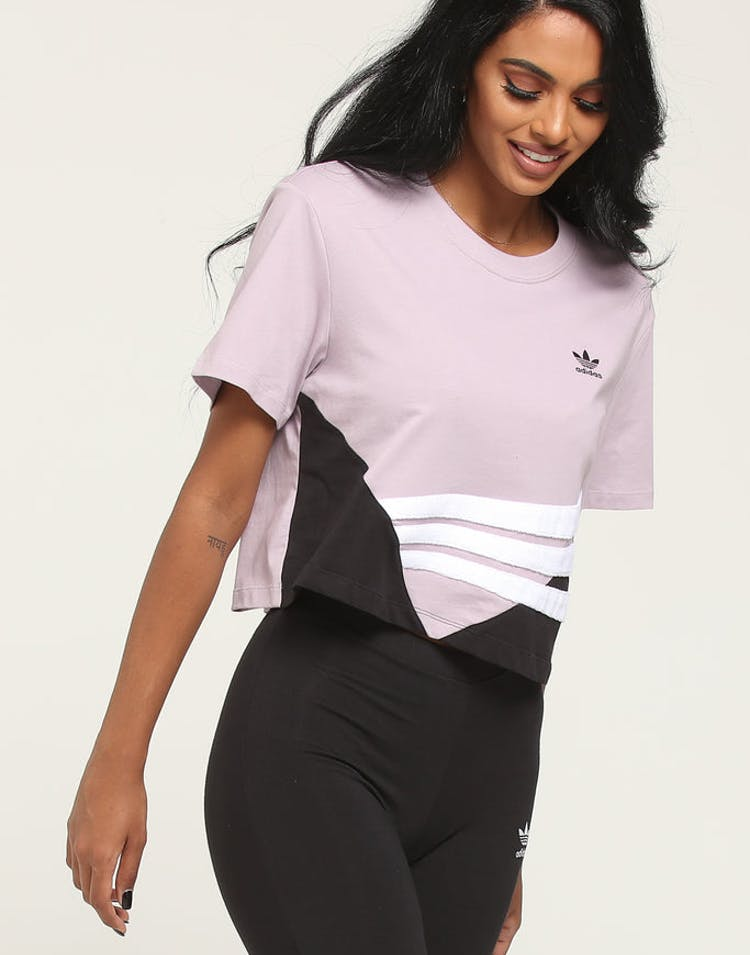 539370b1e4 Adidas Women's Crop Tee Purple/White