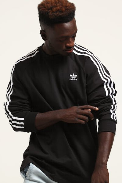 Adidas 3 Stripes LS Tee Black