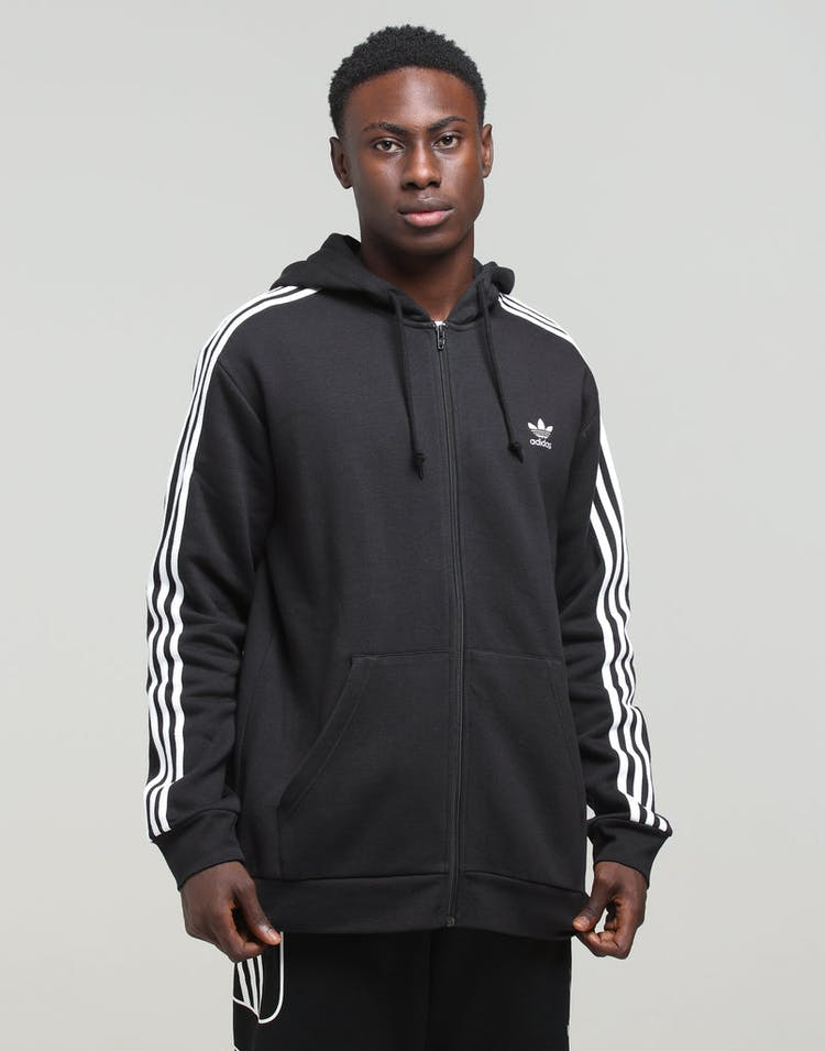 Adidas 3-Stripe Full Zip Hood Black