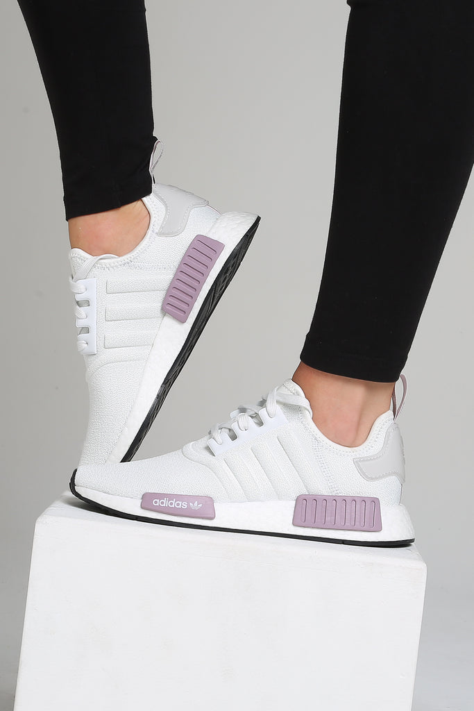 adidas nmd r1 womens white and purple