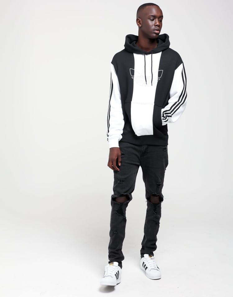 official store various design presenting Adidas Off Court Trefoil Hoodie Black/Black/White
