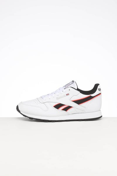 REEBOK CL LEATHER MU WHITE/NEON RED/BLACK