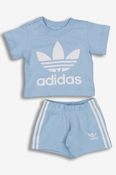 50363e7fe42 Adidas Kids Short Tee Set Light Blue White