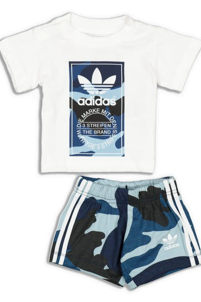 Adidas Kids Camo Tee Set White/Multi-coloured
