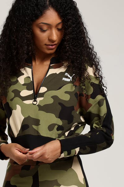 Puma Women's Wild Pack Cropped Crew Forest Camo
