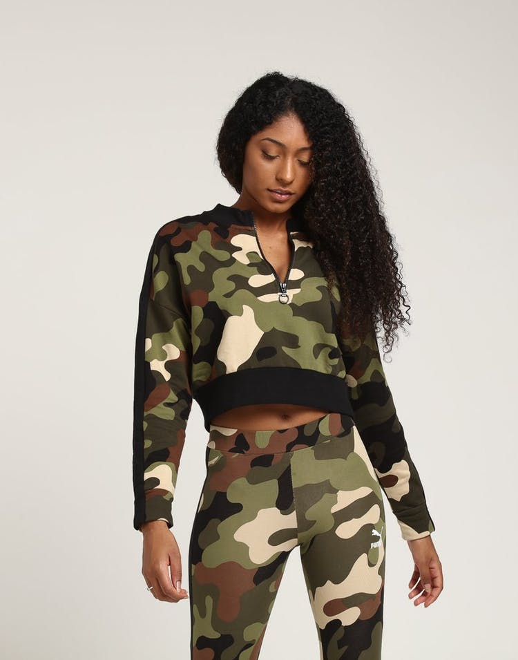 879be42ed771a Puma Women's Wild Pack Cropped Crew Forest Camo