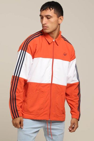 b94a0ab1096 Adidas Coach Jacket Burnt Orange White