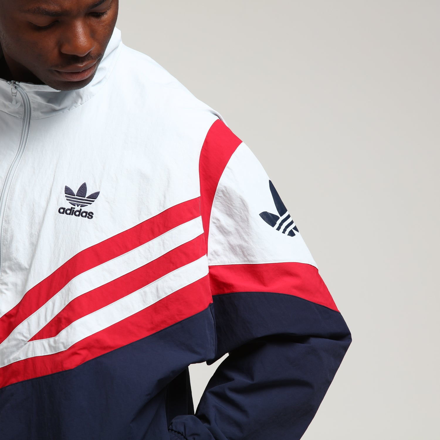 Wear Resisting Adidas Training Jacket Tops Navy White Red 3