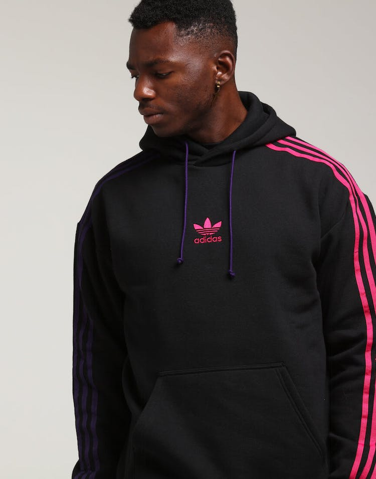 really cheap stable quality for whole family Adidas 3 Stripe Hoody Black/Purple/Pink