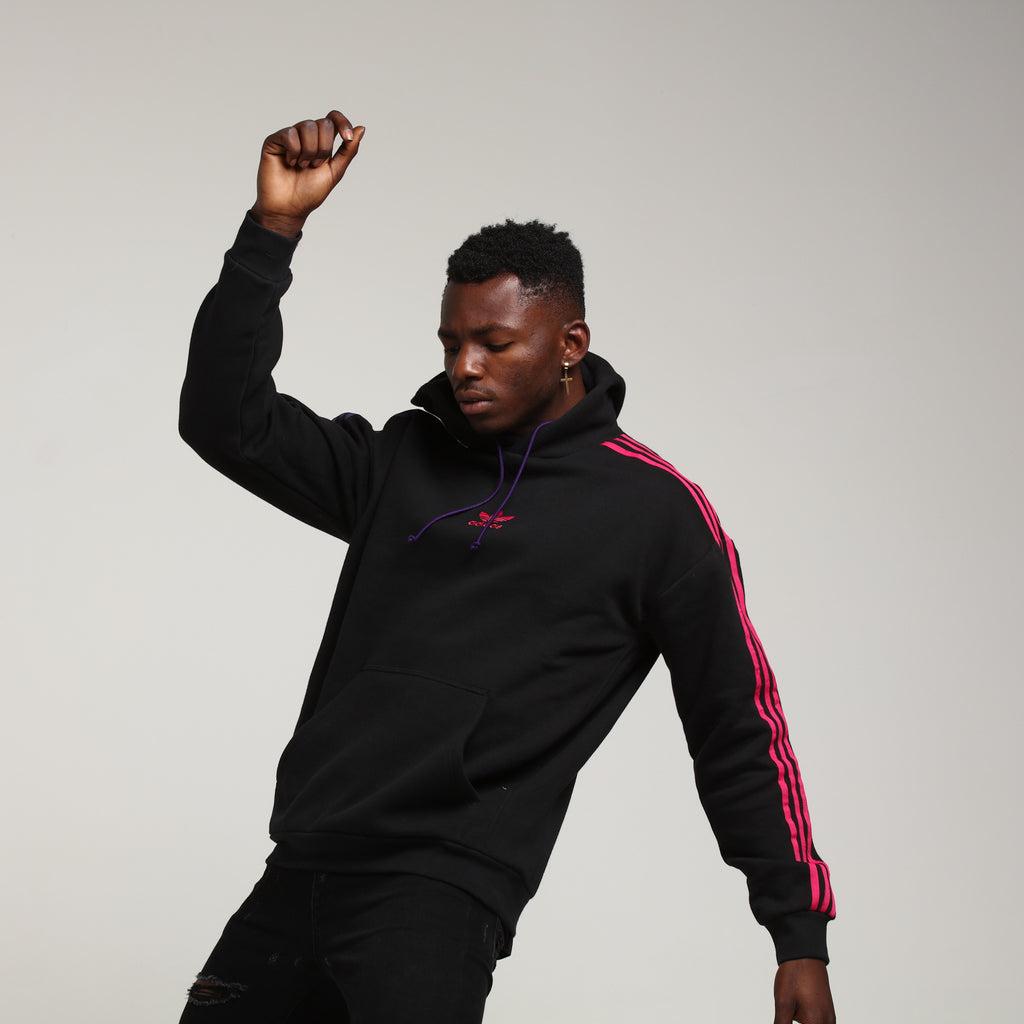 Adidas 3 Stripe Hoody Black/Purple/Pink