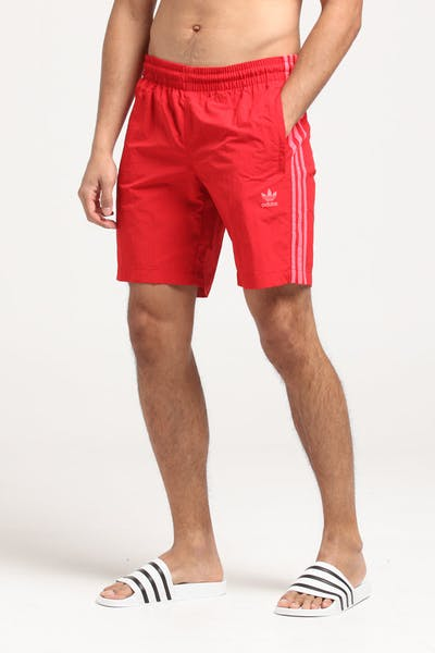 Adidas 3-Stripe Swim Shorts Scarlet/Red