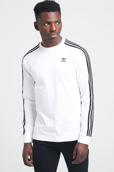 Adidas 3-Stripes LS Tee White