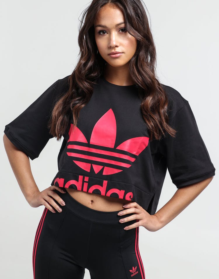 eeca083214 Adidas Women's Crop Sweatshirt Black/Pink