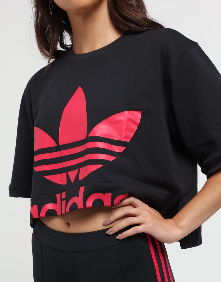 f3be203e Adidas Women's Crop Sweatshirt Black/Pink