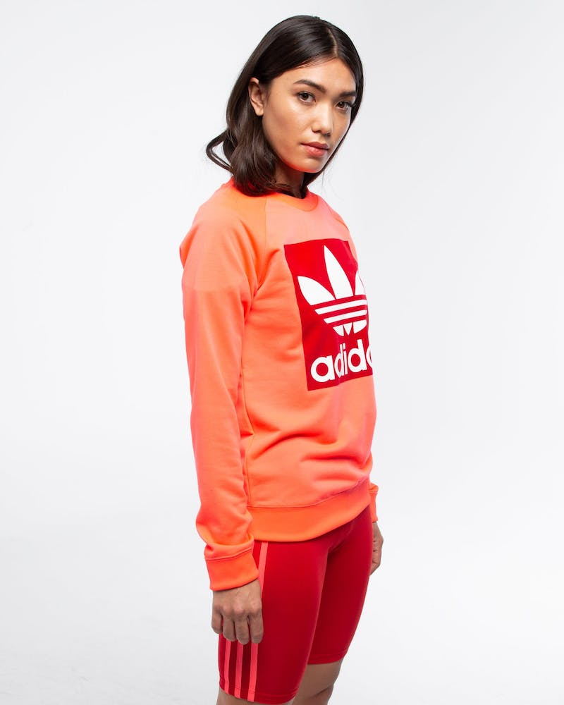 ADIDAS WOMEN'S TREFOIL CREWNECK SWEATER FLASH RED