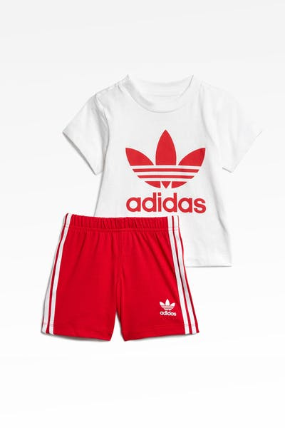 Adidas Infant Short Tee Set White/Scarlet