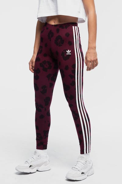 ADIDAS WOMEN'S ALL OVER PRINT TIGHTS MAROON/BLACK