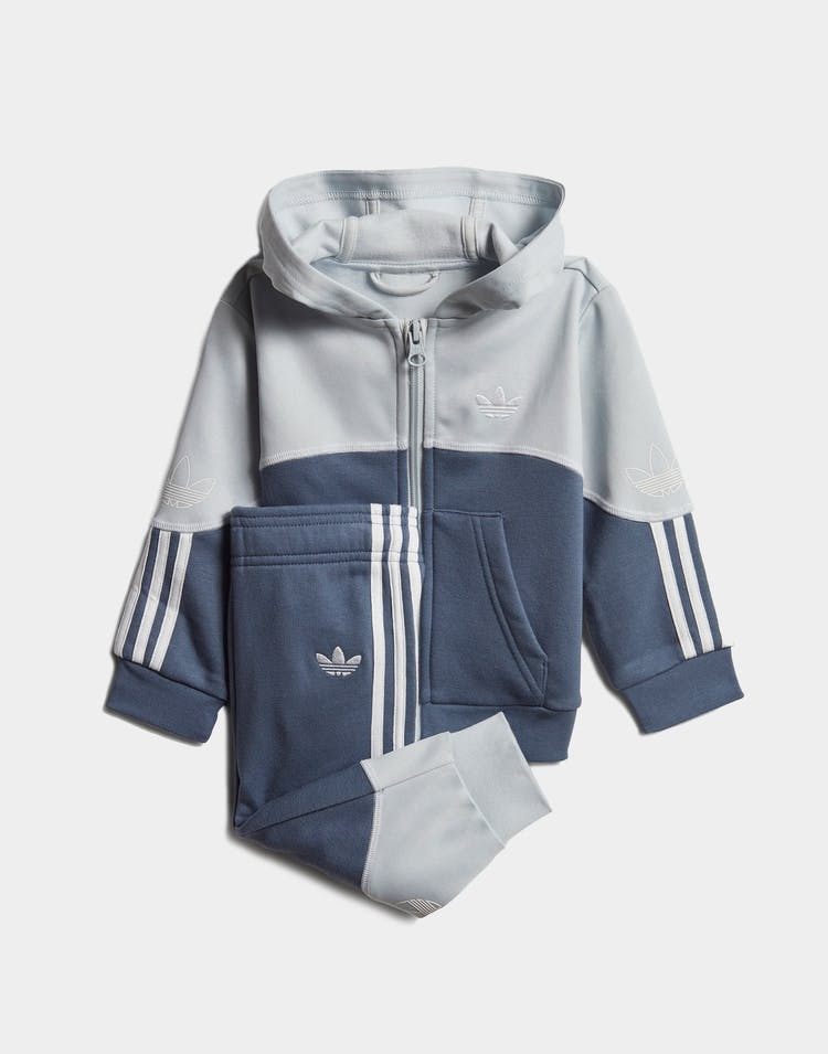 Adidas Kids Outline FZ Hood Tracksuit Set Grey/Ink/White