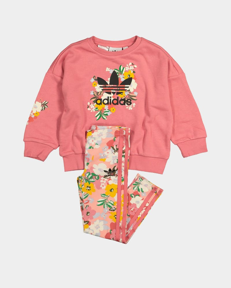 Adidas Kid's HER Studio London Floral Crew Set Hazy Rose/Multi-coloured