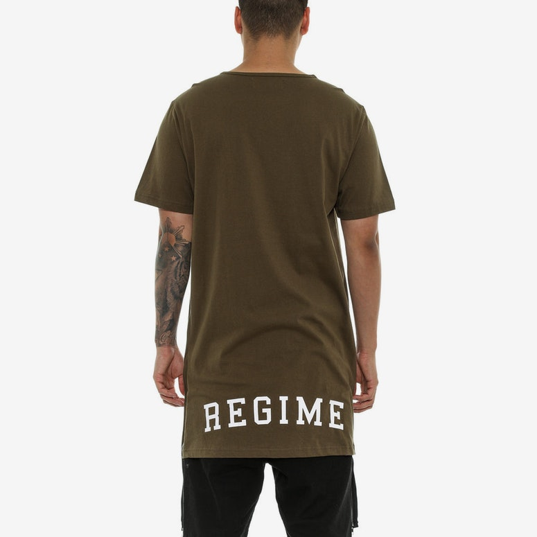 Civil Regime Extended Zip Long Tee Olive