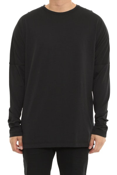 Publish Drop Shoulder Long Sleeve Tee Black