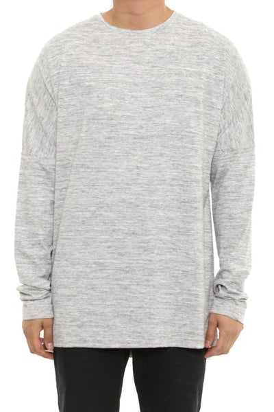 Publish Drop Shoulder Long Sleeve Tee Grey Heather