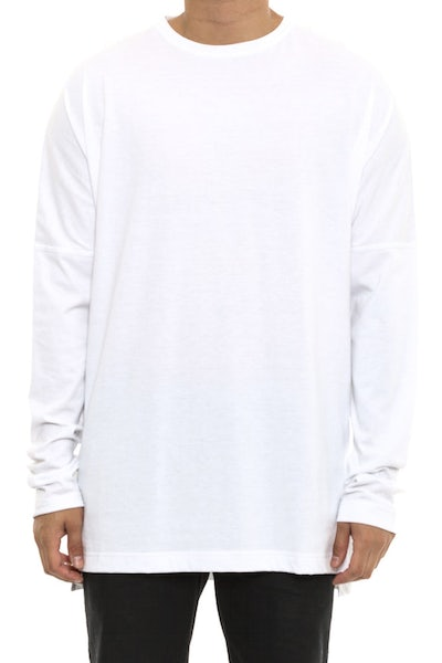 Publish Drop Shoulder Long Sleeve Tee White