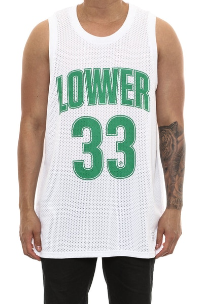 Lower Boston 2 Layer Bball Singlet White