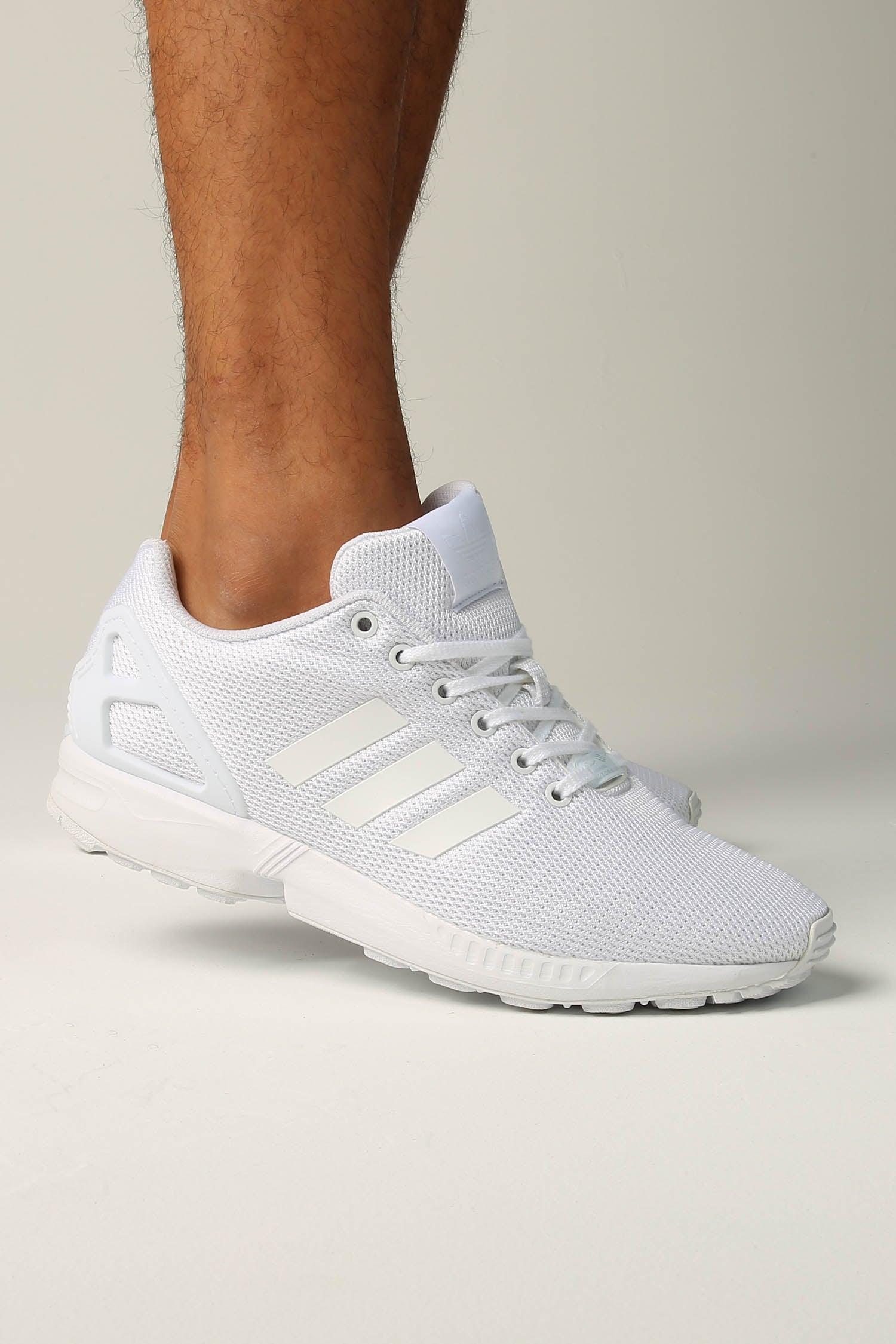 Adidas ZX Flux White with Gum Bottom