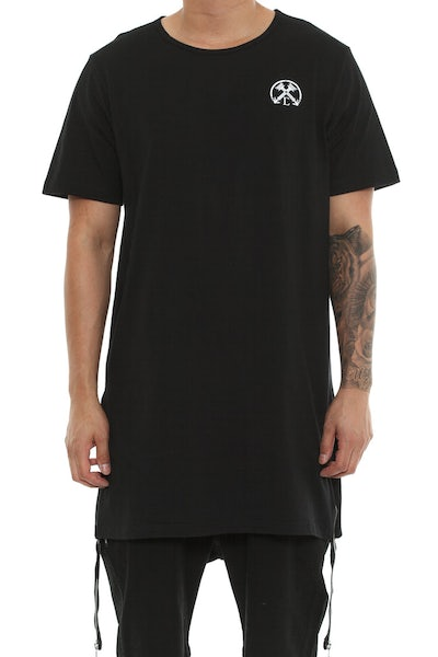 Extended Zip Long Tee Black