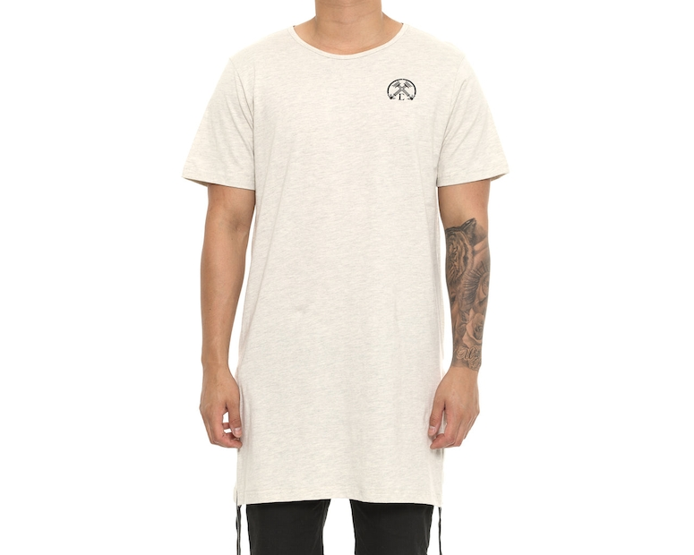 Extended Zip Long Tee Oatmeal