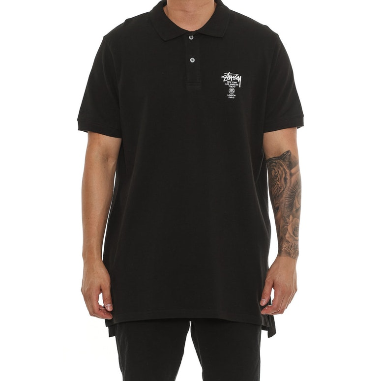 Stussy Cities SS Polo Tee Black