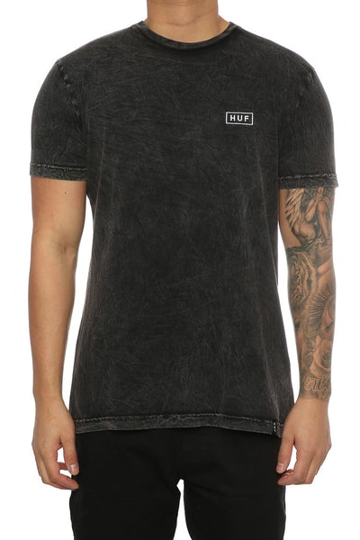 Huf Acid Wash Bar Logo Tee Black