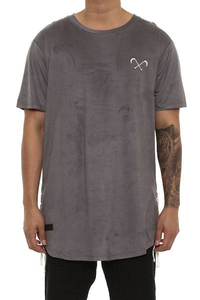 Saint Morta Suede Drawcord Tee Charcoal