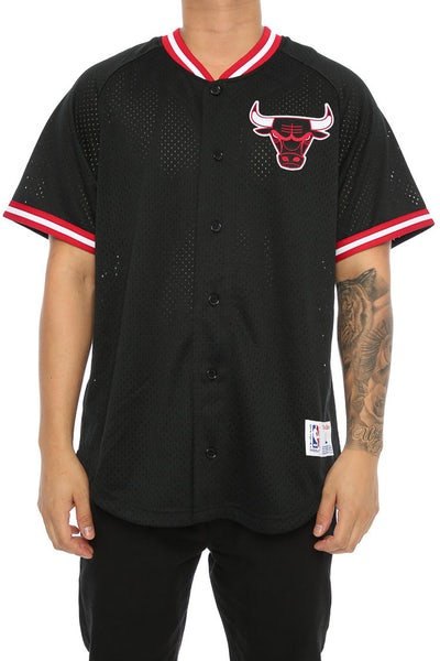 Mitchell & Ness Bulls Pro Mesh Button Up Black