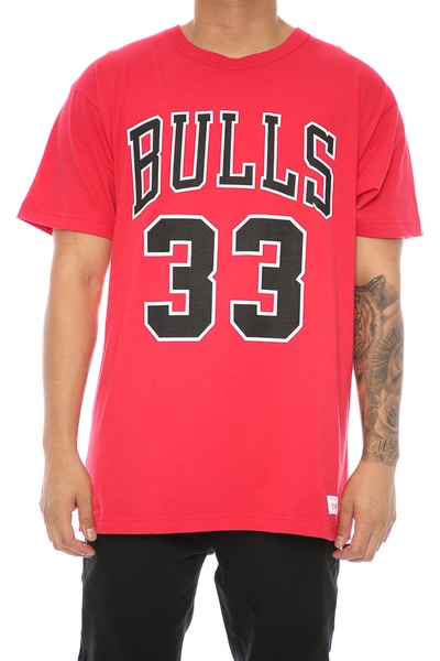 Mitchell & Ness Bulls Pippen 33 Tee Red