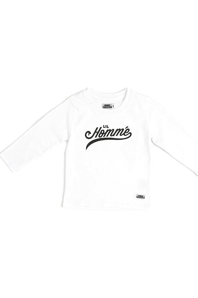 Lil Homme Stealing Bases Long Sleeve Tee White