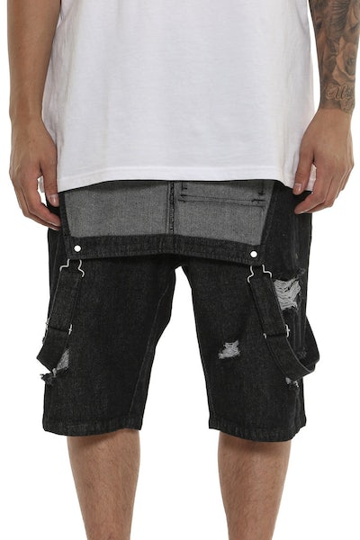 Saint Morta Buct Bib Overall Short Black Wash