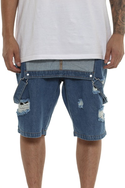 Saint Morta Buct Bib Overall Short Blue Wash