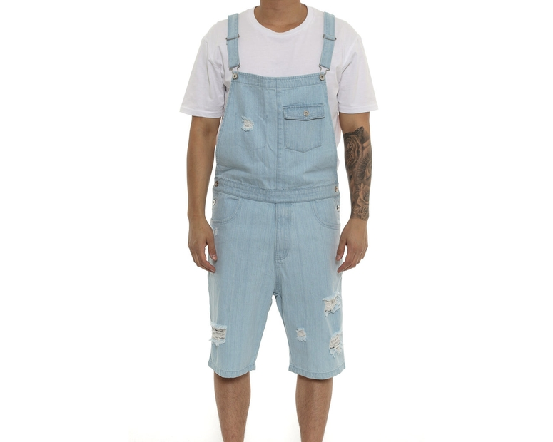 Saint Morta Buct Bib Overall Short Light Blue Wash