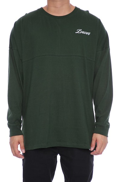 Lower Script Drop Long Sleeve Tee Forest Green