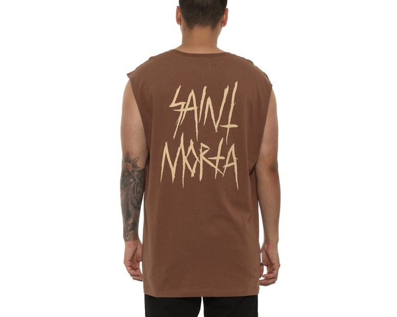 Saint Morta Inscribe Oversize Muscle Tee Brown